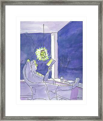 Man Reads By The Light Of Fireflies. Framed Print by Michael Crawford