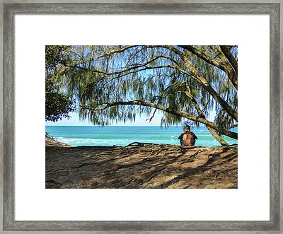 Man Relaxing At The Beach Framed Print
