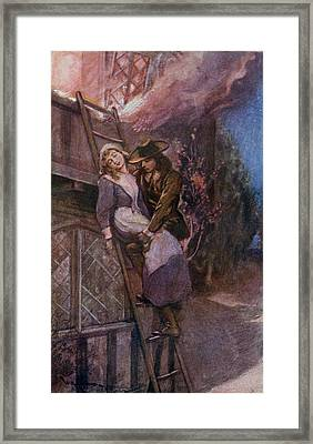 Man Rescuing Woman From Fire In The Framed Print by Vintage Design Pics