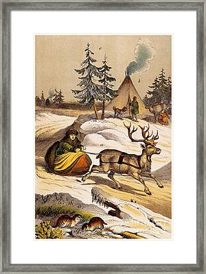 Man Riding Reindeer-drawn Sleigh Framed Print by Wellcome Images