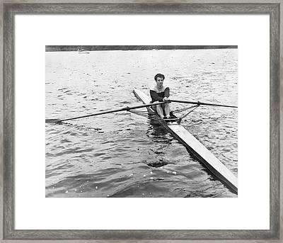 Man Rowing A Scull Framed Print