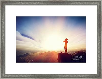 Man Screaming On The Top Of The Mounain Framed Print