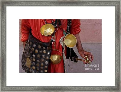 Man Selling Food At His Stall Framed Print by Sami Sarkis