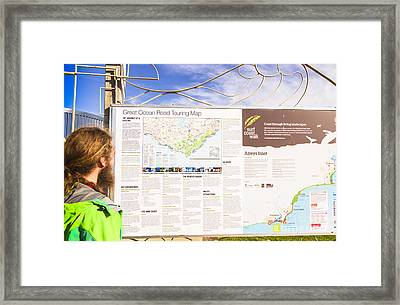 Man Sightseeing The Great Ocean Road Framed Print by Jorgo Photography - Wall Art Gallery