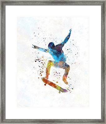 Man Skateboard 01 In Watercolor Framed Print by Pablo Romero