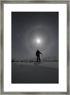 Man Snowshoeing Along The Dempster Framed Print
