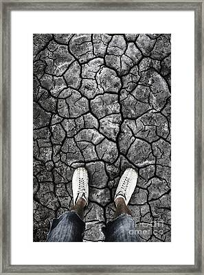 Man Standing In Drought Stricken Australia  Framed Print