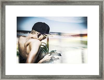 Man Using Mobile Smart Phone Technology Framed Print