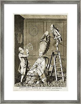 Man Using Sextant On Womans Coiffure Framed Print by Wellcome Images