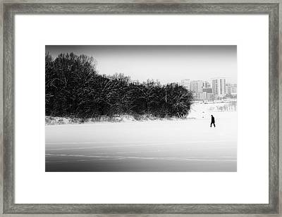 The Walker And The Snow Framed Print by John Williams