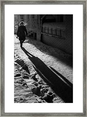 Morning Winter Walk And My Shadow Framed Print by John Williams