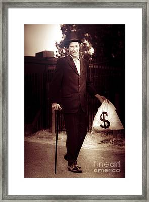 Man Walking The Streets Of Wealth And Prosperity Framed Print