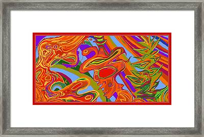 Framed Print featuring the digital art Man, Wilderness And Psyche by Julia Woodman