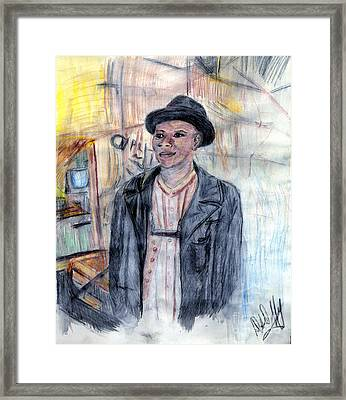 Man With A Harmonica Framed Print by Deborah Duffy