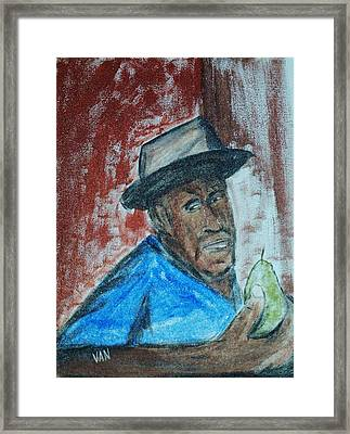 Man With A Pear Framed Print by Van Winslow