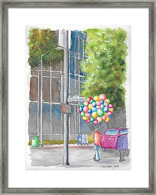 Man With Balloons In Wilshire Blvd., Beverly Hills, California Framed Print
