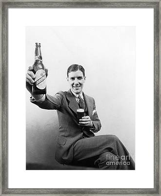 Man With Beer, C.1930s Framed Print by H. Armstrong Roberts/ClassicStock