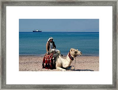 Man With Camel At Red Sea Framed Print