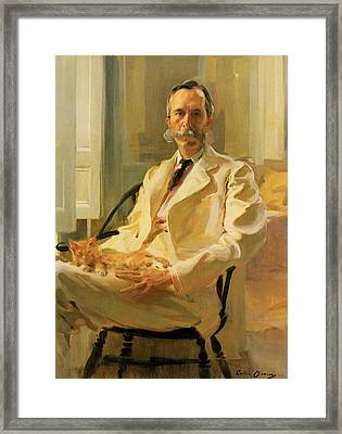 Man With Cat Framed Print by Cecilia Beaux
