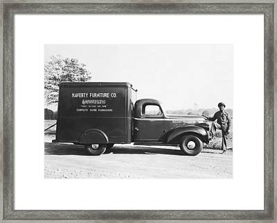 Man With Delivery Truck Framed Print by Underwood Archives