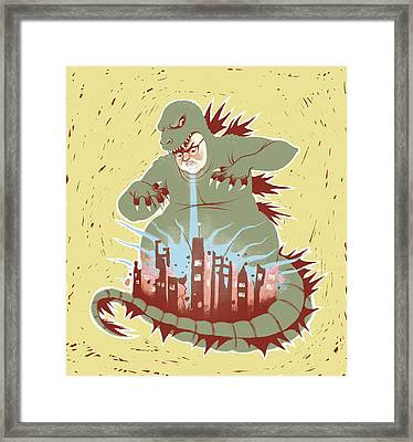 Man With Dragon Costume Destroying City Framed Print
