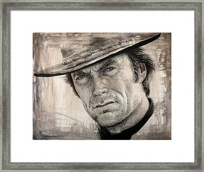 Man With No Name Sepia Splash Framed Print by Andrew Read