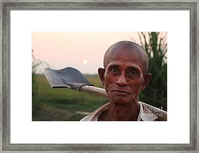 Man With Shovel Framed Print
