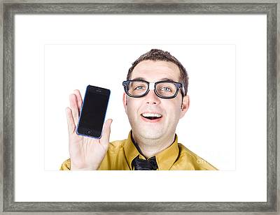 Man With Smart Phone Framed Print by Jorgo Photography - Wall Art Gallery
