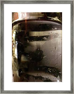 Man With Tray Walking Past Water Bottle Framed Print by Anna Villarreal Garbis