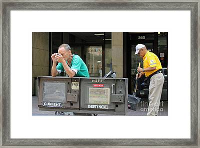 Man With Tweezers Framed Print
