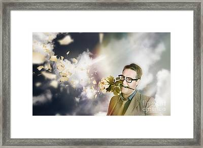 Man With Valentines Day Love And Romance Framed Print