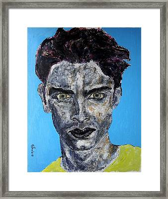 Man With Yellow Shirt Framed Print by George Sabin