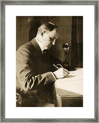 Man Writing At His Desk Framed Print by Underwood Archives