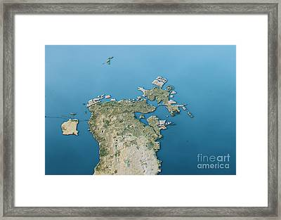 Manama 3d Landscape View South-north Natural Color Framed Print by Frank Ramspott