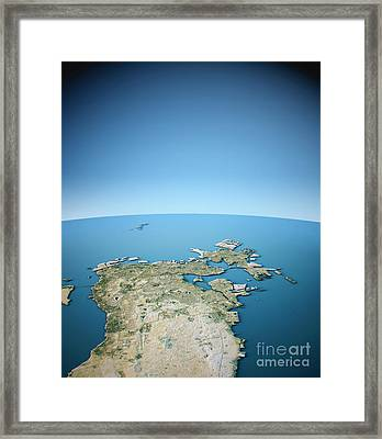 Manama 3d View Vertical South-north Natural Color Framed Print