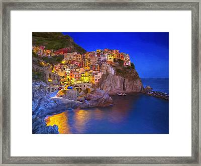 Manarola By Moonlight Framed Print by Dominic Piperata