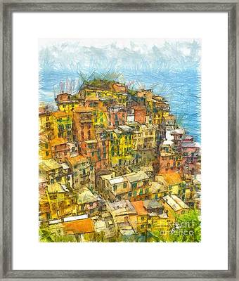 Manarola Cinque Terra City Pencil Framed Print