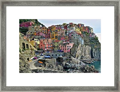 Framed Print featuring the photograph Manarola Cinque Terre Italy by Frozen in Time Fine Art Photography
