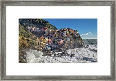 Framed Print featuring the photograph Manarola In Cinque Terre  by Cheryl Strahl