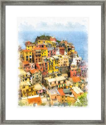 Manarola Italy Cinque Terre Watercolor Framed Print by Edward Fielding