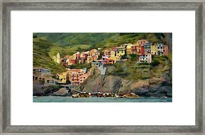 Framed Print featuring the painting Manarola by Jeff Kolker