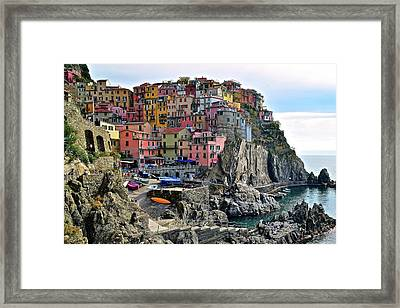 Framed Print featuring the photograph Manarola Version Four by Frozen in Time Fine Art Photography