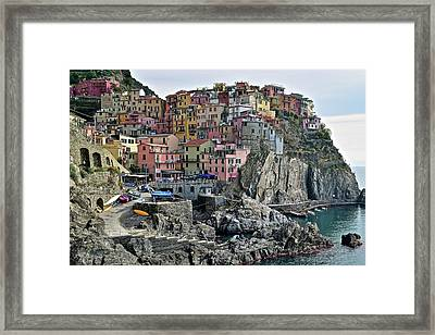 Framed Print featuring the photograph Manarola Version Two by Frozen in Time Fine Art Photography