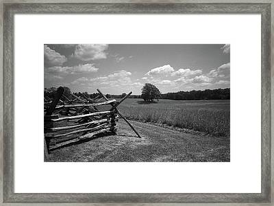 Framed Print featuring the photograph Manassas Battlefield Bw by Frank Romeo