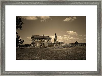 Manassas Battlefield Farmhouse 2 Sepia Framed Print