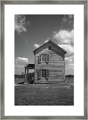 Framed Print featuring the photograph Manassas Civil War Battlefield Farmhouse Bw by Frank Romeo