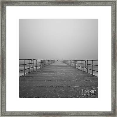 Manatee Beach Pier In Fog Infrared 39 Framed Print by Rolf Bertram
