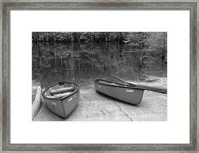 Manatee Springs Black And White Boat Launch Framed Print by Adam Jewell