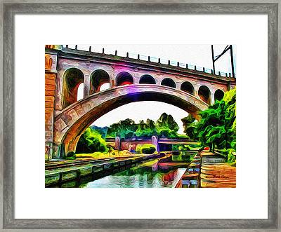 Manayunk Canal And Bridge Framed Print by Bill Cannon