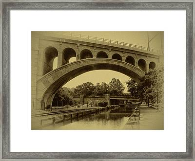 Manayunk Canal In Sepia Framed Print by Bill Cannon